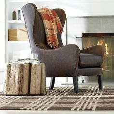 Garbo Leather Wingback Chair - Crate and Barrel Living Room Chairs, Home Living Room, Living Area, Dining Chairs, Leather Wingback Chair, Lounge, Wood Accents, New Furniture, Barrel Furniture