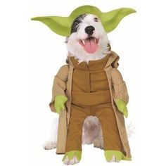 Your canine companion will be ready to train young Jedi Knights with this Yoda Dog Costume. Complete with a headpiece modeled after Yoda's signature curved ears, this green and tan jumpsuit will have even the youngest of pooches feeling the wisdom of years past. This costume is perfect for any costume party, or just to spice up your nightly walks!