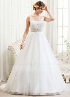 [€ 179.88] Duchesse-Linie V-Ausschnitt Hof-schleppe Tüll Brautkleid mit Perlen verziert Applikationen Spitze Pailletten