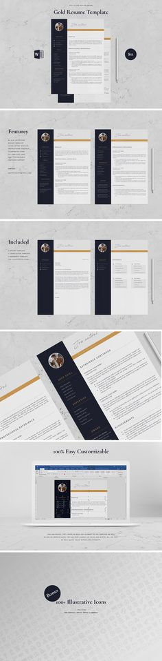 Resume Template 4 Page - Gold by Aprilea on Cover Letter Sample, Cover Letter Template, Cv Template, Letter Templates, Resume Writing Tips, Resume Tips, Resume Cv, Student Cv Examples, Creative Resume Templates