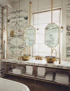 Heavy Veined Marble Bathrooms