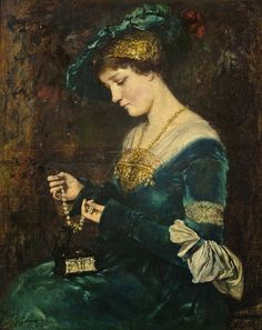 The Jewelry Box by French Painter Jacquet Jean Gustave 1846-1909