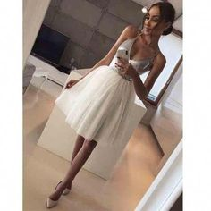 Outlet Vogue Ivory Wedding Dress V Neck Spaghetti Straps Silver Sequin Ivory Tulle Homecoming Dresses Short Prom Hoco Dress Burgundy Homecoming Dresses, V Neck Prom Dresses, Dresses Uk, Sexy Dresses, Bridesmaid Dresses, Prom Gowns, Party Dresses, Dress Prom, Wedding Dresses