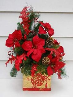 Christmas Holiday Silk Poinsettia, Artificial Pine Greenery Flower Arrangement