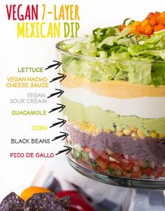 Vegan 7-Layer #Mexican Dip  Mexican cuisine is in my top 3 fave list for a reason :)