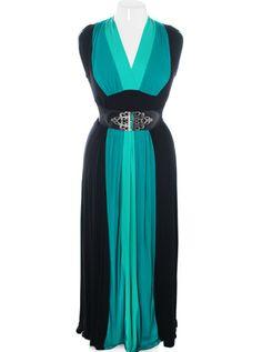 + size floor length belted teal dress avail @ plussizefix.com