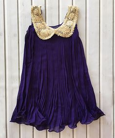 Look at this Purple & Gold Sequin-Collar Dress - Toddler & Girls on #zulily today!