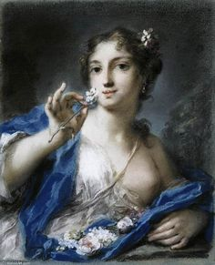 'Spring', Pastel by Rosalba Carriera (1675-1757, Italy)