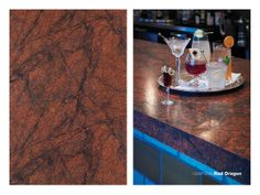 Formica 180fx 3549 Red Dragon on a bar countertop.
