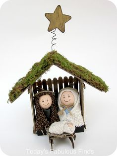 Childrens' Nativity Set made with craft sticks and clay pots