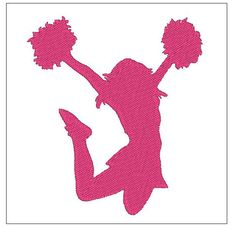 2.49 Cheer Cheerleader silhouette shadow embroidery pattern 4 inch download for Machine Embroidery