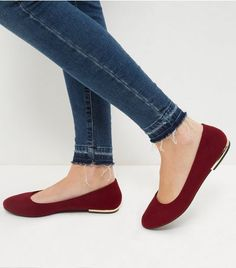 Wide Fit Dark Red Suedette Metal Trim Ballet Pumps  | New Look