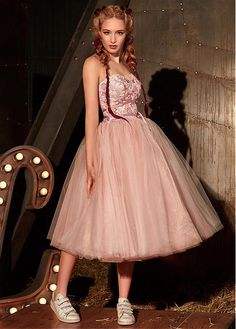6b9c53b920a0 [188.56] Absorbing Tulle Sweetheart Neckline Tea-length Ball Gown Prom  Dress With Lace Appliques