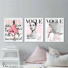 Vogue Posters - Fashion Wall Art - Audrey Hepburn Art - Set Of Three Prints - Chanel Watercolor Art Print - Home Decor - Free Postage Worldwide Bedroom Posters, Bedroom Wall, Bedroom Decor, Art Nouveau, Home Remodel Costs, Fashion Wall Art, Fashion Bedroom, Home Remodeling Diy, Hippie Home Decor