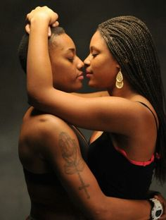 Two Black Lesbians Making Out