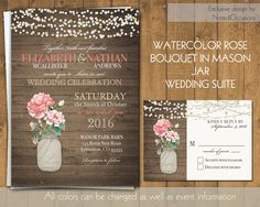 Mason Jar with Roses Rustic Wedding Invitations - Soft Blush Pink Coral Roses | Barn or Rustic Wedding Invitations | on Wood Grain
