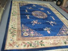 Art Deco Chinese Hand Knotted Wool Rug x Royal Blue Aubusson 90 Line Aubusson Rugs, Train Set, Wool Rug, Royal Blue, Art Deco, Carpet, Chinese, Projects, Ebay