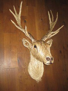 White Stag Sculpture Wolf Sculpture, Animal Sculptures, Willow Weaving, Basket Weaving, Plaster Wall Lights, Twig Art, Bird Nursery, Traditional Baskets, Branch Art