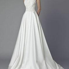 Wedding dress,a-line lace satin wedding dress, bridal dress