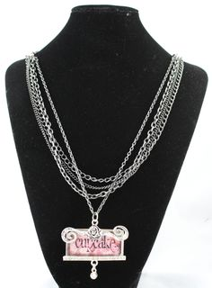 Cupcake Necklace With Triple Strand Chain