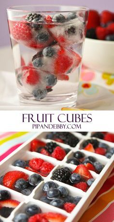 Fruit Cubes | Spruce up your glass of water with frozen fruit! Great way to cut calories and sugar out of your summer beverages.