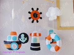 Baby Mobile - Baby Crib Mobile - Nursery Decor - Hanging Nautical Mobile - Mariner Ocean Blue Orange White theme (Custom colors available)
