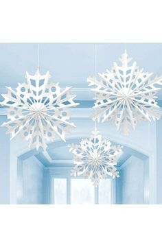 Snowflake Paper Hanging Fan Decoration - Christmas & Winter Decorations