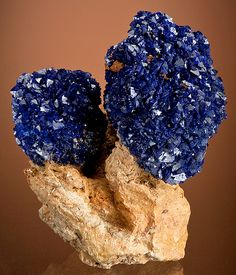 crystal clusters of Azurite sitting atop matrix #mineral