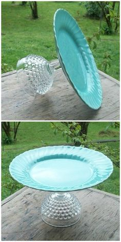 How To Make Cake Stands From Your Odd Crockery We've put together a collection of DIY Cake Stands that you can make yourself. They are made using Plates and Glasses and are very easy! Diy Para A Casa, Cake Stand Decor, Cake Stands Diy, Deco Buffet, Cake And Cupcake Stand, Wedding Cake Stands, Wedding Cakes, Dollar Tree Crafts, Diy Home Crafts
