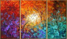 Cuadros Modernos Tripticos Pintados Minimalistas - $ 550,00 en MercadoLibre