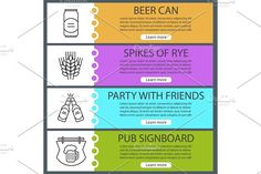 Beer banner templates set Graphics Beer banner templates set. Beer can and bottles, spikes of rye, pub signboard. Website menu items wi by Icons Factory