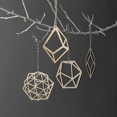 Laser cut out of plywood, these geometric tree ornaments from Dowse Design are limited edition and come as a set of four. You can also get them in a frosted white perspex.