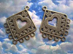 1 Pair Brass Ox Multi Ring Earring Drops with by StarPower99, $2.00
