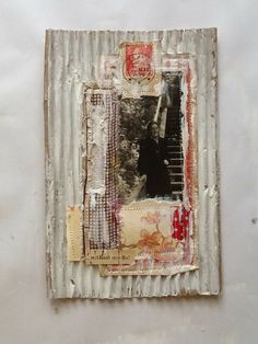 TinyBear Studio collage and stitching Mixed Media Collage, Mixed Media Canvas, Up Book, Book Art, Collages, Tea Bag Art, Paper Collage Art, Postage Stamp Art, Textiles