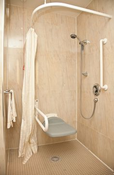 Handicap Shower Enclosures #DisabilityBathroomTips >> Visit us for more info at http://www.disabledbathrooms.org/barrier-free-disabled-shower.html