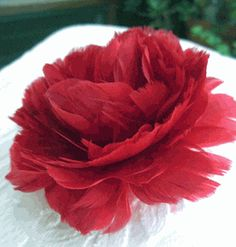 """Fascinator Flowers: 4"""" Red Feather Flower Rose"""