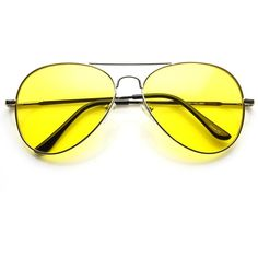 Retro Large Metal Aviator Sunglasses With Yellow Driving Lens 9461 (24 BAM) ❤ liked on Polyvore featuring accessories, eyewear, sunglasses, uv protection glasses, yellow lens glasses, retro sunglasses, aviator glasses and yellow aviators