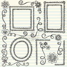 Frames and Borders Hand-Drawn Sketchy Scalloped Notebook Doodles. Frames and Borders Hand-Drawn Sketchy Scalloped Notebook Doodles Ornamental Set- Vector Illustration Design Elements on Lined Sketchbook Paper Background Stock Photo Doodle Frames, Doodle Art, Doodle Drawings, Easy Drawings, Zen Doodle, Doodle Designs, Designs To Draw, Doodle Patterns, Hand Drawn Border