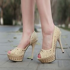 Crystal Evening Women Party Stilettos High Heels Wedding Open Toe Shoes US6-7.5