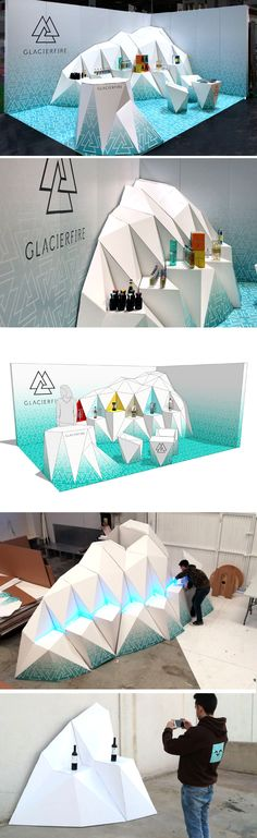 Cardboard booth designed for Glacierfire by Cartonlab studio. White finished cardboard with digital printing.