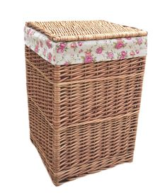 Light Steamed Square Laundry Baskets with Garden Rose Lining Laundry Baskets, Rose, Garden, Home Decor, Laundry Room Baskets, Pink, Garten, Decoration Home, Room Decor