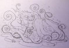 Girl and Pet - pencil sketch by BramboraCzech.deviantart.com on @DeviantArt