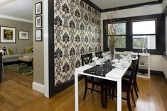 Staggering Wall Paper decorating ideas for Cute Dining Room Contemporary design ideas with accent wall baseboards black and white black trim centerpiece crown molding damask