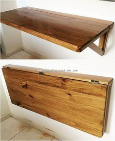 Attractive DIY Ideas with Wood Pallets Setting the wood pallet project of folding shelf piece into your house corner definitely brings about an artistic look into your house. Although this wood pallet folding shelf design is being wisely used for placing Diy Furniture Decor, Pallet Furniture, Rustic Furniture, Antique Furniture, Furniture Stores, Modern Furniture, Furniture Movers, Furniture Removal, Furniture Sale