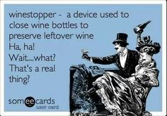 Wine stopper - a device used to close wine bottles to preserve leftover wine.  Ha, ha!  Wait...what?  That's a real thing?