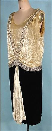 Circa 1925 JEAN PATOU Paris, Cannes, Monte Carlo Couture Numbered Ecru and Black Silk Velvet Flapper Party Dress. Trimmed in Rhinestones and Faux Pearls.