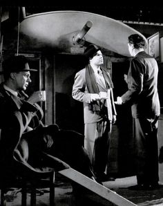 Joseph Cotten, Orson Welles & dir. Carol Reed have tea on set of The Third Man, 1949, before recording the cuckoo clock speech.