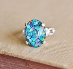 mosaic opal ring | GENUINE Australian Opal Ring,Mosaic Opal Ring,Sterling Silver,Opal ...