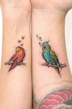 There is no denying the fact that couple tattoos are as much popular as simple tattoos for men and women. The most couple prefers to have matching tattoos while few others look for unique tattoo designs. Romantic Couples Tattoos, Finger Tattoos For Couples, Couples Tattoo Designs, Love Bird Tattoo Couples, Body Art Tattoos, New Tattoos, Sleeve Tattoos, Cool Tattoos, Script Tattoos