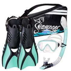trek fins for travel Panoramic single-lens dive mask Ergonomic dry-top snorkel One-way purge valve Zipper gear bag with adjustable strap Full Face Snorkel Mask, Snorkel Set, Dive Mask, Best Snorkeling, A Gear, Zipper Bags, Water Sports, Solo Travel, Single Travel